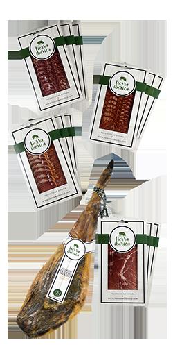Jamón y lomo de cebo 50% ibéricos y embutido Ibérico loncheado (4x3 sobres 100 grs.)