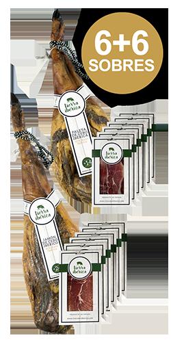 Paleta y jamón de cebo 50% Ibérico loncheado (2x6 sobres 100 gr.)