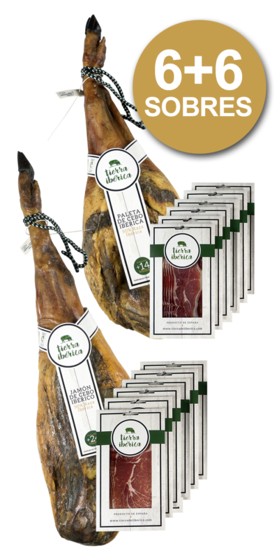 jamón y paleta de cebo 50% ibérico loncheado